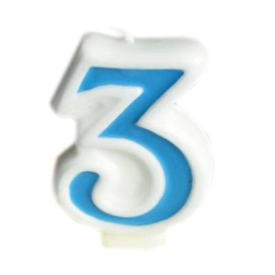 Blue Numeral 3 Number Candle White Premium Birthday Candle- Le Petit Pain