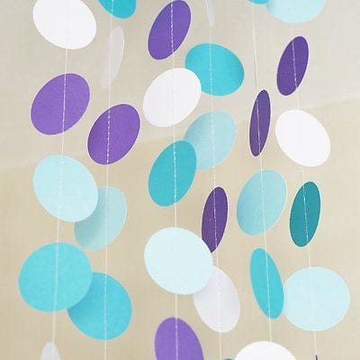 Blue Aqua Purple Frozen Theme Circle Dots Paper Garland Banner 10 FT Decor- Le Petit Pain