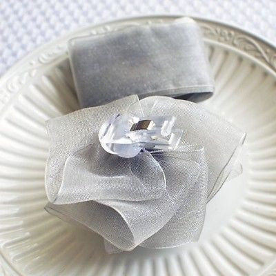 Silver Rose Bow and Ribbon Easy Clip On Present Gift Bow Christmas Gift Wrap- Le Petit Pain