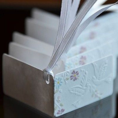 20 Embossed Wedding Doves and Flowers Gift Tags Paper Favor Tags Labels Ribbon - le petit pain