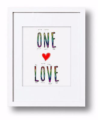 One Love Equal Rights Gay Pride Art Print LGBTQ Same Sex Marriage Typography Art- Le Petit Pain