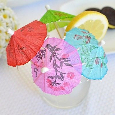 60 Mini Umbrellas Parasol Toothpicks Cocktail Party Pick Tropical Drink Swizzle - le petit pain