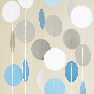 White Light Blue Circle Dots Paper Garland 10 FT Polka Dots Banner Party Decor- Le Petit Pain