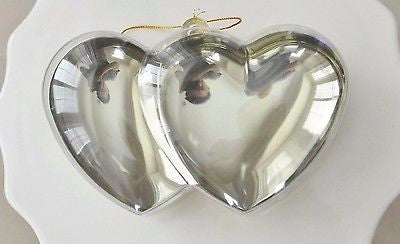 Plastic Gold Chrome Double Heart Container Ornament Favor Fillable- Le Petit Pain