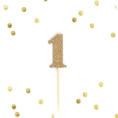 10 Number 1 One Year Old Gold Glitter Cupcake Cake Picks, Baby First Birthday