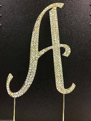 Gold Letter Initial A Birthday Crystal Rhinestone Cake Topper A Party Monogram- Le Petit Pain