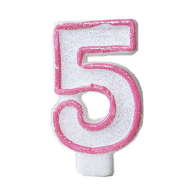 Pink Glitter Sprinkles 5 Number Candle White Premium 5th BirthdayCake Candle