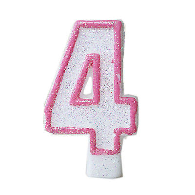 Pink Glitter Sprinkles 4 Number Candle White Premium Birthday Candle- Le Petit Pain
