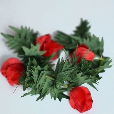Premium Red Flower Lei Headband Boho Glad and Fern Crown- Le Petit Pain
