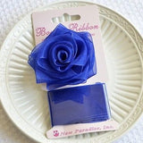 Blue Rose Bow and Ribbon Easy Clip On Present Gift Bow Christmas Gift Wrap- Le Petit Pain