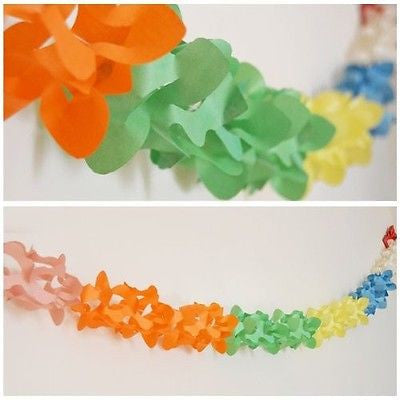 Rainbow Multi Color Lily Paper Garland 12 Ft Long Hanging Decoration