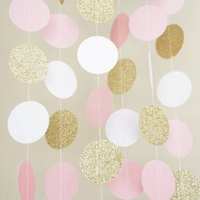Pink White And Gold Glitter Circle Polka Dots Paper