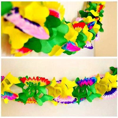 Colorful Multicolor Dragon Flower Paper Garland - 12 Ft Long