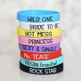 8 Wedding Girls Night Out Bachelorette Party Bracelets Bachelorette Favor - le petit pain