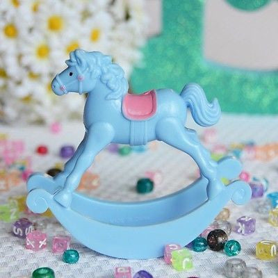 "Light Blue Rocking Horse Favor 3.5"" Baby Shower Centerpiece DIY"