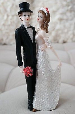 "Vintage Bride and Groom Cake Topper Tux Top hat White Gown Figurine 8.75"" Tall"