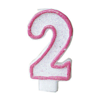 Pink Glitter Sprinkles 2 Number Candle White Premium 2nd Birthday Cake Candle- Le Petit Pain