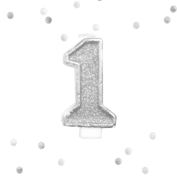 Silver Glitter 1st Birthday Candle Number 1 Silver & White One Smash Cake Topper- Le Petit Pain