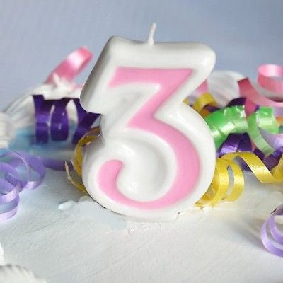 Pink 3 Number Candle White Premium Birthday Candle