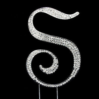 Silver Letter Initial S Birthday Crystal Rhinestone Cake Topper S Party Monogram- Le Petit Pain