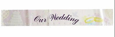 Vintage Metallic Our Wedding Party Banner Wedding Rings and Cake 6 Ft Photo Prop