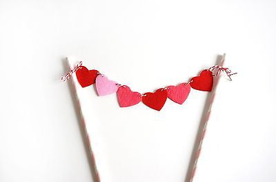 Red Pink Heart Banner Garland Birthday Cake Topper Wedding Anniversary Decor- Le Petit Pain