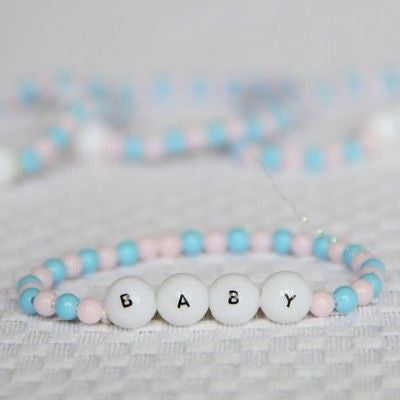 Mini Beaded Baby Bracelet 8 Count Light Pink and Blue Baby Shower DIY Tiny Craft- Le Petit Pain