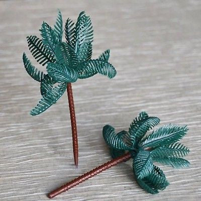 8 Large Palm Tree Cupcake Cake Toppers Tropical Beach Party Decoration - le petit pain