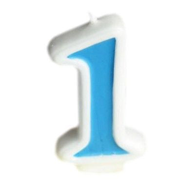 Blue Numeral 1 Number Candle White Premium Birthday Candle