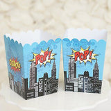 Superhero Popcorn Favor Boxes Batman Superman Theme Red & Blue