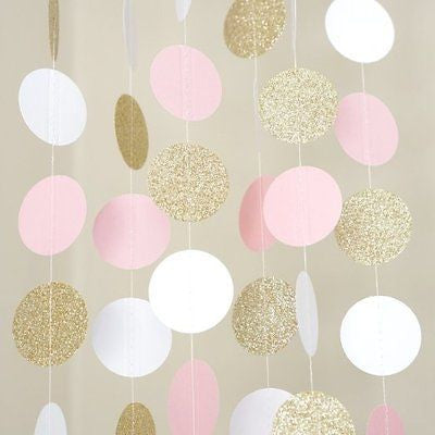 Pink White and Gold Glitter Circle Polka Dots Paper Garland Banner 10 FT Banner- Le Petit Pain