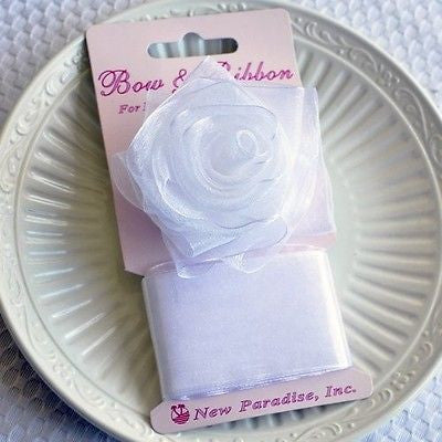 White Rose Bow and Ribbon Easy Clip On Present Gift Bow Christmas Gift Wrap- Le Petit Pain