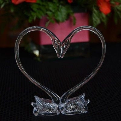 3 Clear Heart Love Swans Wedding Cake Topper Centerpiece Craft Party Decoration
