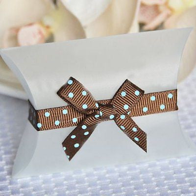 20  Brown and Turqiouse Teal Blue Polka Dot Grosgrain Self Adhesive Ribbon wedding birthday baby shower