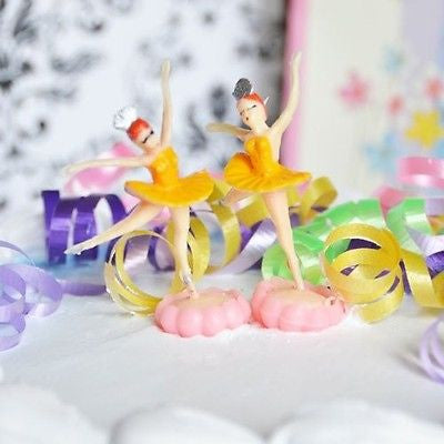 6 Ballerina Yellow Cake Topper Ballet Favor Dance Birthday Party Decor Cupcake - le petit pain