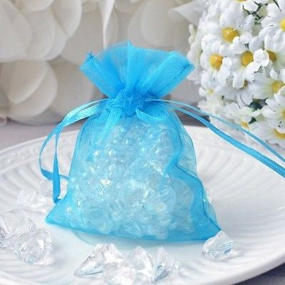 "Turquoise Organza Favor Pouches 10 Drawstring Bags 3""x4"""