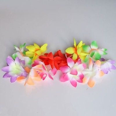 2 Rainbow Hawaiian Wild Orchid Bracelet or Anklet Lei Luau Couple Hair Accessory Birthday Accessory
