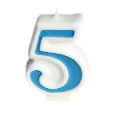 Blue Numeral 5 Number Candle White Premium Birthday Candle