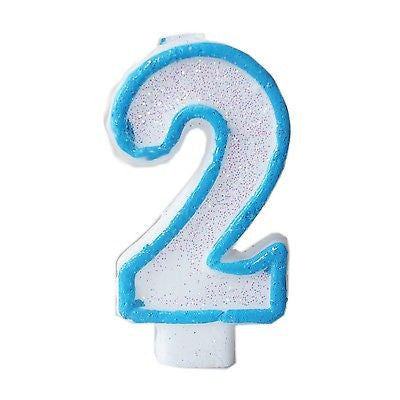 Blue Glitter Numeral 2 Number Candle White Premium 2nd Birthday Cake Candle- Le Petit Pain