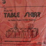 "Premium Plastic Red Table Skirt 29"" x 14"" Reusable- Le Petit Pain"