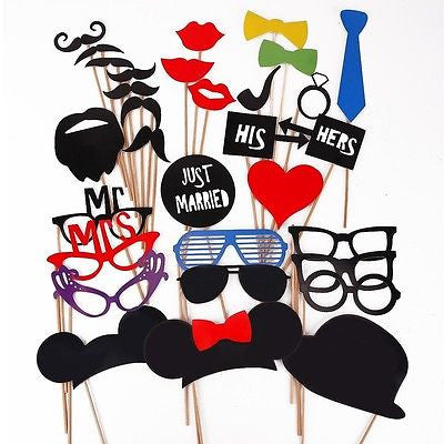 31 PCS Minnie Mickey Mouse Ears Mustache Photo Prop Booth Party Favor Wedding Birthday