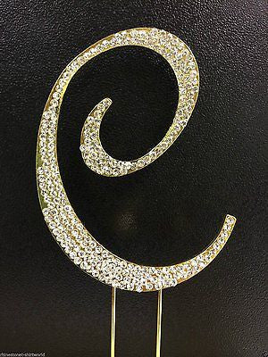 Gold Letter Initial C Birthday Crystal Rhinestone Cake Topper C Party Monogram- Le Petit Pain