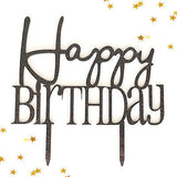Black Glitter Happy Birtthday Monogram Cursive Cake Topper Modern Decoration- Le Petit Pain