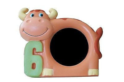 "Brown Cow 6th Birthday 6 Years Old Picture Frame 3"" x 5"" Cute Photo Frame- Le Petit Pain"