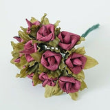 24 Rustic Paper Roses Flowers Bouquet Burgundy Ivory Pink Peach Wedding Crafts - le petit pain\