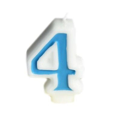 Blue Numeral 4 Number Candle White Premium Birthday Candle- Le Petit Pain