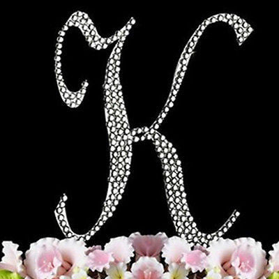 Silver Letter Initial K Birthday Crystal Rhinestone Cake Topper K Party Monogram