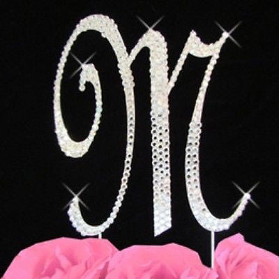 Silver Letter Initial M Birthday Crystal Rhinestone Cake Topper M Party Monogram