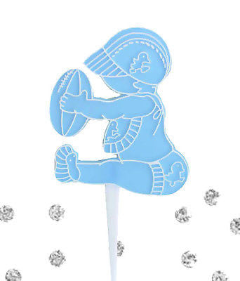 8 Baby Boy with Football Bakery Cupcake Picks Cake Decoration Shower Blue NFL