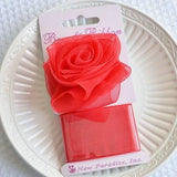 Red Rose Organza Bow and Ribbon Clip On Present Gift Bow Christmas Gift Wrap